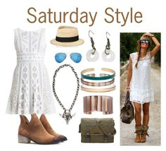 """""""Saturday Style"""" by colorbyamber ❤ liked on Polyvore featuring BCBGMAXAZRIA, Eugenia Kim, Ray-Ban and Marc by Marc Jacobs"""