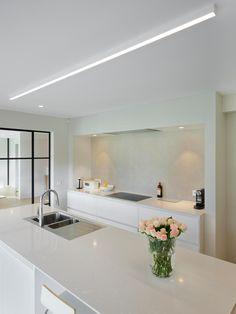 Linear Lighting, Lighting Design, Condo Living Room, Happy New Home, Cuisines Design, Modern Kitchen Design, Ceiling Design, Apartment Design, Kitchen Lighting