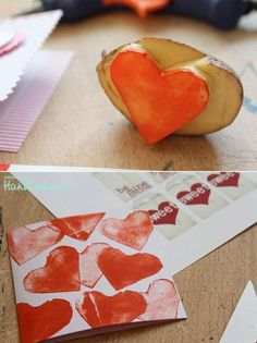 Potato stamp for Mother´s Day wrapping paper. Fun Crafts For Kids, Cute Crafts, Preschool Crafts, Diy For Kids, Arts And Crafts, Diy Crafts, Valentine Sensory, Valentine Day Love, Valentines Day Decorations