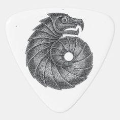Guitar Pick Ammonite black on white Geometric Symbols, Irish Celtic, Ammonite, Guitar Picks, Wiccan, Flasks, Bottles, Rock, Black And White