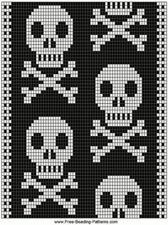 ♥embroidery designs →cross stitch pattern♥ by SoEasyPattern Crochet Skull, Crochet Cross, Crochet Chart, Bead Crochet, Beading Patterns Free, Bead Loom Patterns, Weaving Patterns, Cross Stitch Patterns, Knitting Charts