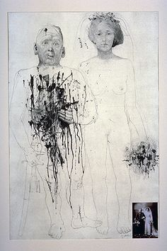 Jiří Anderle, Solider and Bride, 1980, drypoint and mezzotint with photograph. 1988