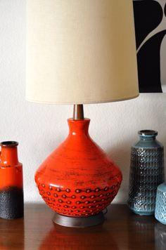 Extra Large XL Mid Century Orange Pottery and Teak by deedee914, $450.00
