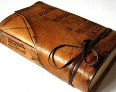 Personalized Leather Journal Handmade, Summum Meditatio on Etsy