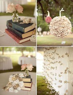 Des livres, encore des livres pour une décoration de mariage romantique, unique et un brin intelectuel !!! [Photos]