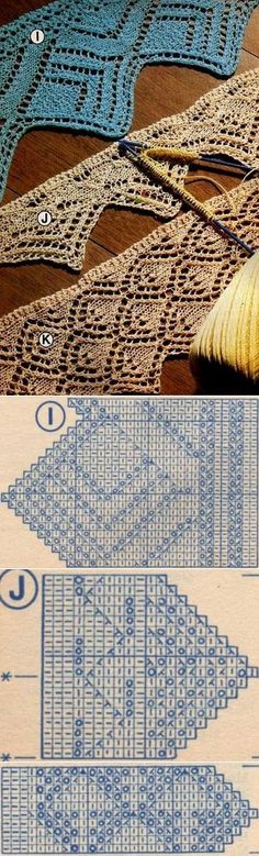 This Pin was discovered by Gal Lace Knitting Patterns, Knitting Stiches, Knitting Charts, Lace Patterns, Loom Knitting, Tricot D'art, Knit Edge, Crochet Wool, Knitting Accessories