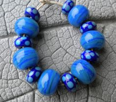 Streaky Blues Lampwork Beads by Cherie Sra R114 by happyskull, $18.00
