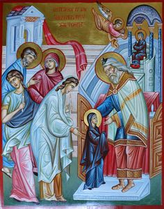 Entrance of the Theotokos into The Temple, icon hand painted icon, by Georgi Chimev, icon, icon Byzantine Icons, Byzantine Art, Religious Icons, Religious Art, Christian Mysticism, Paint Icon, Orthodox Christianity, Orthodox Icons, Medieval Art