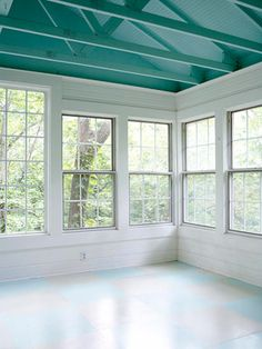 Sunrooms are common additions because they support a casual lifestyle and add flexible living space. These sunroom ideas show the many ways to build and use four-season spaces while complementing the existing exterior style of your home. Porch Ceiling, Ceiling Fan, Ceiling Color, Paint Ceiling, Open Ceiling, Colored Ceiling, Ceiling Ideas, Four Seasons Room, Three Season Porch
