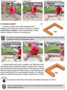 Cum se construieste un gratar din caramida? Bbq Grill Diy, Grilling, Outdoor Barbeque, Brick Bbq, Brick Construction, Garden, Photos, House, Houses