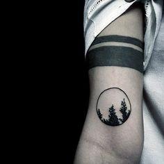 Gentleman With Minimalist Circle Tattoo Of Trees On Arm