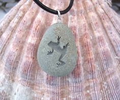Leap Frog engraved Beach Stone Pendant - a reminder to Leap into Bigger and Better Things necklace