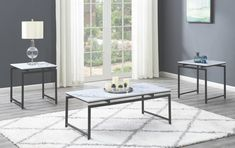 Porch & Den Fulmar White Faux Marble and Dark Gunmetal Occasional Set, Black 3 Piece Coffee Table Set, Coffee And End Tables, End Table Sets, Occasional Tables, Coaster Furniture, Furniture Making, Living Room Furniture, Home Furniture, Coffee Table Dimensions