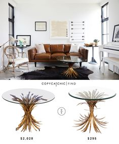 @1stdibs Coco Chanel Style Wheat Coffee Tablee | $2,028 Vs @overstock Horizon Gold Antique Wheat Side Table | $295