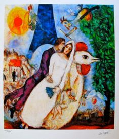 Bride and Groom of the Eiffel Tower by Marc Chagall, bride and groom ride on the back of a rooster with a red wedding canopy and the Eiffel Tower behind them while an angel plays a violin.