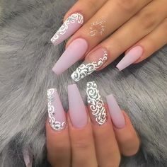 36 Trendy as well as Appealing Marble Coffin Nails Design – Page 8 – My Beauty Note Gorgeous Nails, Love Nails, Pretty Nails, My Nails, Hair And Nails, Prom Nails, Bling Nails, Wedding Nails, Cute Acrylic Nails