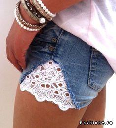 Украшаем джинсовые шорты