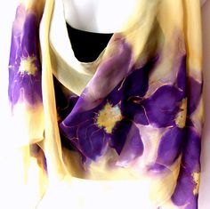 Hand Painted Silk Scarf Vanilla Purple Floral Orchids