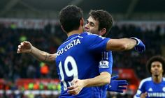 Oscar and Diego Costa at the Liberty Stadium.