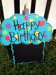 Large Happy Birthday Cupcake Wooden Door Sign - Office or Home Decoration on Etsy, $28.00