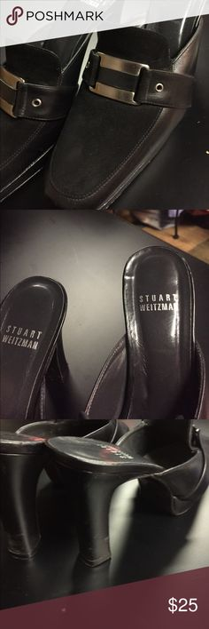 Stuart Weitzman black leather and suede shoes Stuart Weitzman black leather and suede shoes with buckle detail. Stuart Weitzman Shoes