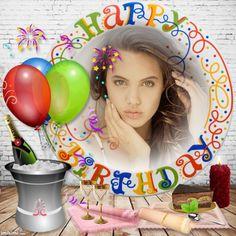 Happ Birthday Birthday Cake With Photo, Happy Birthday Photos, Birthday Frames, Birthday Board, Dear Sister, Paper Frames, Flower Frame, Fathers Day, Birthdays