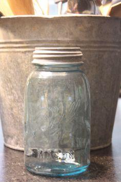 blue ball 1/2 gallon vintage mason jar with by mysweetsavannah, $9.99