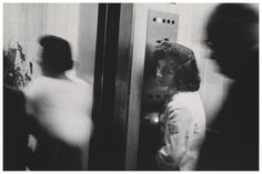 "Photo by Robert Frank - ""And I say: that little ole lonely elevator girl lookingup sighing in an elevator full of blurred demons, what's her name and address?"" Jack Kerouac's Introduction to Robert Frank's The Americans Photography Rules, Vintage Photography, Street Photography, Exposure Photography, Portrait Photography, The Americans, Zurich, Robert Frank Photography, Roy Decarava"