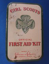 Old Girl Scouts First Aid Tin w Belt Loop Nice