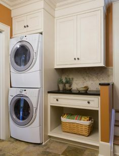 I would love a stacked Washer and Dryer for my too small laundry/mud room. Maybe next year. Laundry Room Cabinets, Laundry Room Organization, Laundry Storage, Storage Shelves, Storage Ideas, Basement Laundry, Laundry Closet, Small Shelves, Storage Organization