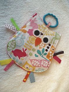 OWL CRINKLE CRACKLE Sensory Taggie Lovey Owl Toy in Forest Life.