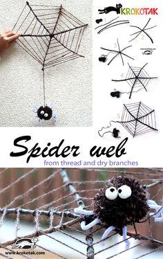 Telaraña con ramitas y lana #edplástica // Spider web from thread and dry branches