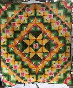 """Tropical Eureka Made by @Cathy Waltz  so I put in my sister's name in """"search"""" and woman posted a quilt she made. Cool and weird at the same time. hmmm"""