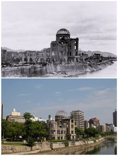 The gutted Hiroshima Prefectural Industrial Promotion Hall (C), which is currently called the Atomic Bomb Dome or A-Bomb Dome, after the bombing of Hiroshima on 6 August 1945 and the same location near Aioi Bridge in Hiroshima in 2015 Atomic Bomb Explosion, Atomic Bomb Hiroshima, Hiroshima Peace Memorial, Hiroshima Bombing, Nuclear Bomb, Nuclear War, Then And Now Photos, Historia Universal, Nagasaki