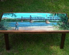 Cribbage Board Table with Accent Border The Guy's by TheRightJack