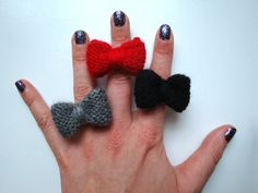 Knitted Mabel Bow // Red / Grey / Black by hellobettybow on Etsy, Hello Betty, Red And Grey, Black, Uk Shop, Jewelry Making, Stud Earrings, Bows, Jewels, Trending Outfits