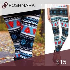 Winter Holiday Leggings High waist leggings feature snowflakes and decorated red pine trees. One size fits up to an approximate size 8/small 10. So soft! As with all merchandise, Seller not responsible for fit nor comfort. Brand new boutique retail. No trades, no off App transactions or negotiations.      ❗️PRICE IS FIRM UNLESS BUNDLED❗️ Pants Leggings