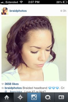 Love this braid for bangs!  Would be good to use with a curly hairstyle, or an awesome way to put your bangs back in a ponytail