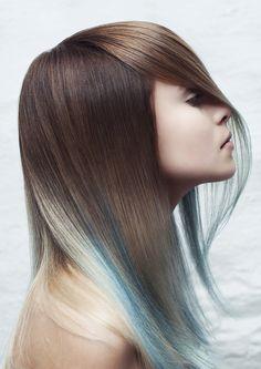 Pretty Reverse Ombre #brown to #blue #haircolor