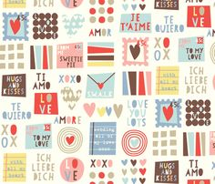 Sweetie darling! Gorgeous love letter fabric on Spoonflower by amel24. Love it!