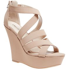Strappy Criss-Cross Faux Suede Wedges ($37) ❤ liked on Polyvore featuring shoes, sandals, heels, wedges, nude, platform sandals, nude high heel sandals, platform wedge sandals, heeled sandals and nude sandals