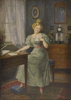✨ Josef Kränzle, Austrian (1874-1937) - Der Liebesbrief,  Junge Frau in Biedermeier-Interieur. Öl/Lwd. 34 x 24 cm