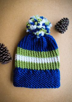 Knitted Headband, Knitted Hats, Super Bowl Hats, Handmade Shop, Handmade Gifts, Pom Pom Hat, Evie, Seahawks, Hand Knitting