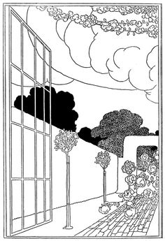'The open window' by E. Temple Thurston; illustrated by Charles Robinson. Published 1913 by D. Appleton and Company, New York. Source 1, Source 2