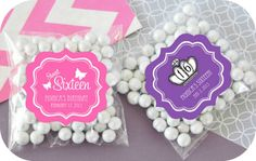 DIY favor packaging~ Personalized Sweet Sixteen Quince Clear Candy Bags (Set of 24)
