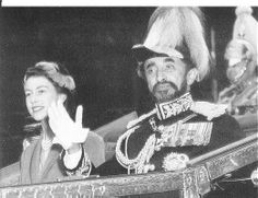 Emperor Haile Selassie of Ethiopia and Queen Elizabeth II of the United Kingdom ride together in an open carriage during ceremonial welcome of the Emperor to London during his state visit in 1958.