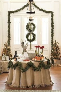 Neat idea for a Christmas wedding Cake table or party decor.