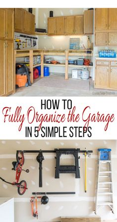 Garage Organization -How do you store your stuff? Don't settle for never being able to find what you need. Garage storage and organization can be easily maintained with these 5 simple steps
