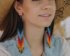 Etsy :: Your place to buy and sell all things handmade Beaded Earrings Native, Long Tassel Earrings, Seed Bead Earrings, Fringe Earrings, Etsy Earrings, Seed Beads, Stacked Necklaces, Cool Necklaces, Native American Fashion