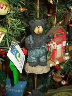 FISHING BLACK BEAR IN OVERALLS GREAT LODGE LOOK CHRISTMAS TREE ORNAMENT on eBay